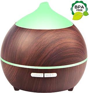 Diffuser for Essential Oils, 250ml Essential Oil Diffuser Aromatherapy Therapy Diffuser Wood Grain, Waterless Auto Shut off, 7 Colors Light