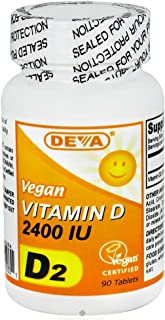 Deva Nutrition Vegan D2 Vitamin D 2400 IU, 2 Count