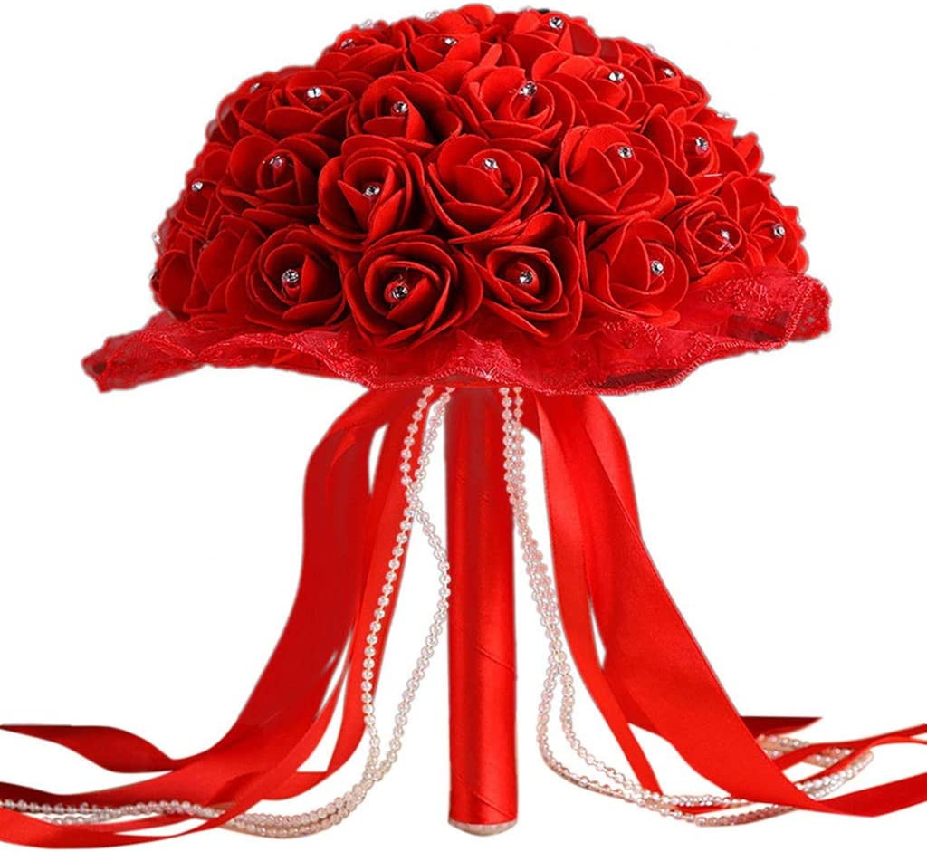 Amazon Com Lace With Crystals Bouquet Wedding Gift Artificial Bridal Flowers Red Roses Silk Diy Wedding Party Home Decoration Red Kitchen Dining