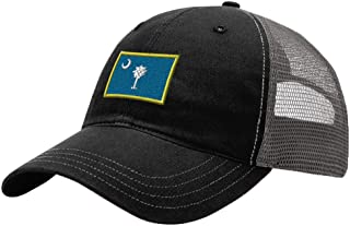 South Carolina State Flag Embroidery Richardson Cotton Front and Mesh Back Cap Black/Charcoal
