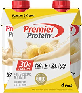 Premier Protein, 30g Shakes Bananas and Cream, 44 Fl Oz, Pack of 4