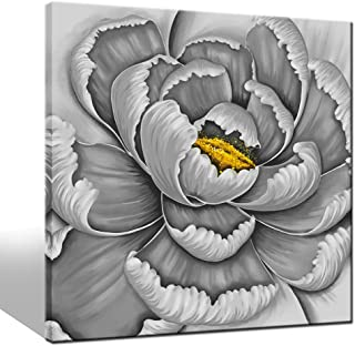 LevvArts - Flower Pictures Wall Art Simple Elegant Gray and Yellow Blossom Flower Paintings on Canvas Modern Home Living Room Decor Abstract Floral Artwork Framed Ready to Hang Large Size