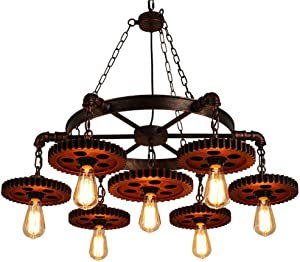 Surpars House 7-Heads Rustic Chandelier Industrial Pendant Light for Restaurant,Bar,Coffee Room