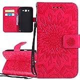 ISAKEN Compatibile con Samsung Galaxy Grand Neo Plus i9060 Custodia[PU Pelle], Libro Flip Cover Portafoglio Case Tinta Unita Caso con Supporto di Stand/Carte Slot/Magnetica - Girasole: Rossa