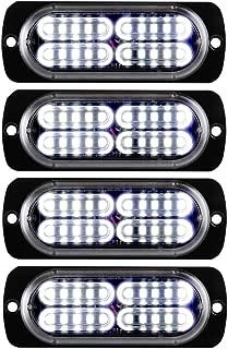4 x 20-LED Emergency Caution Warning Light Super Bright Hazard Flashing Strobe LED Light Bar Surface Mount for Construction Vehicle, Tow Truck Van(White)