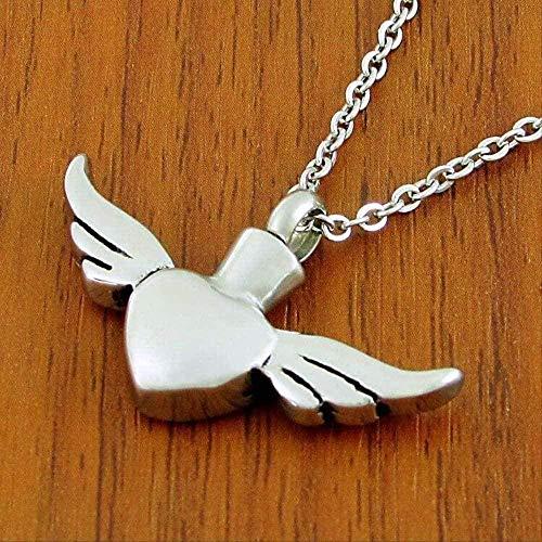Yiffshunl Collar de Moda con alas de ángel, Colgante de Amor, Collar de corazón de Titanio, Collar para Mascotas