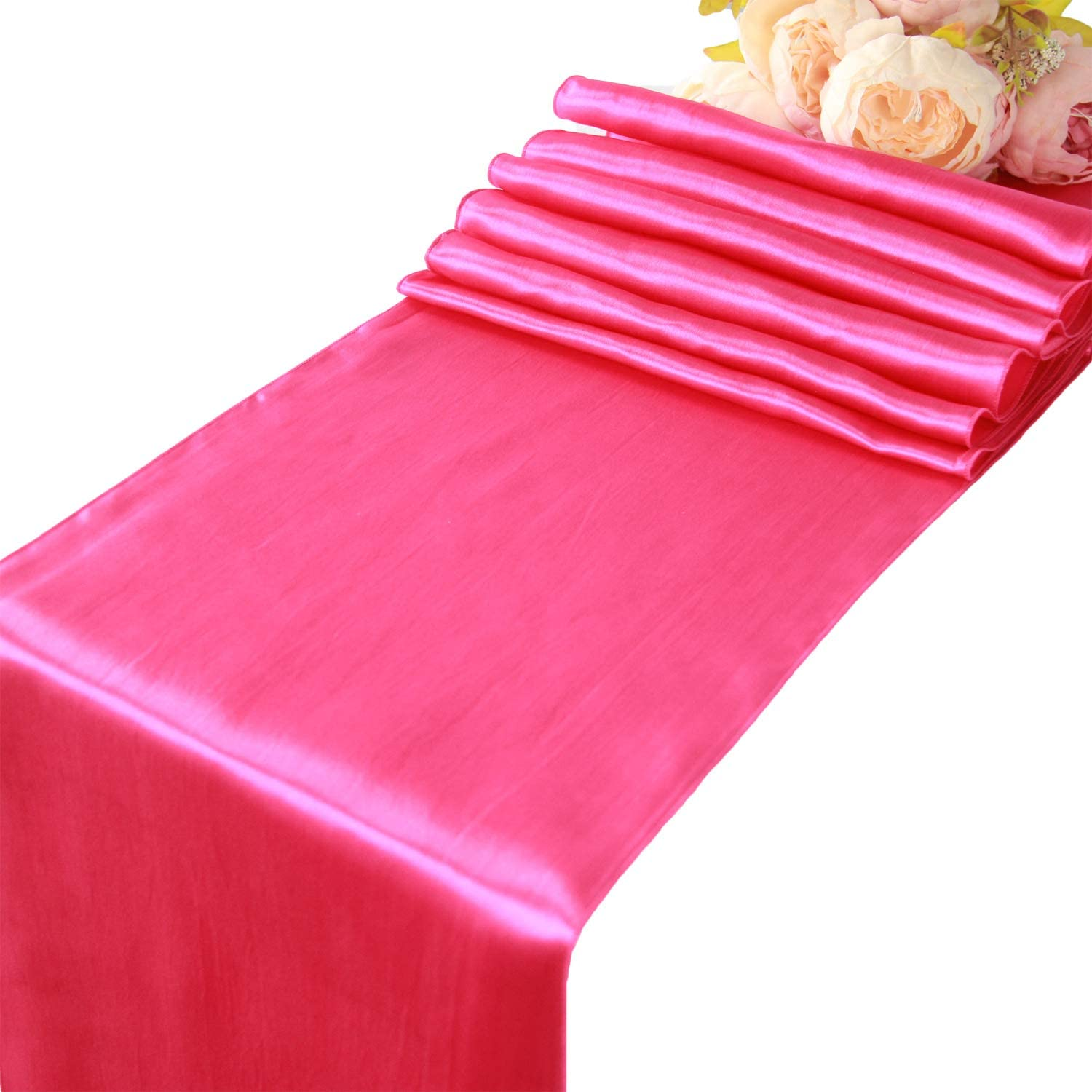 55% OFF WELMATCH Hot Pink Satin Table Runners pcs - Great interest Wedding Banquet 5 Pa