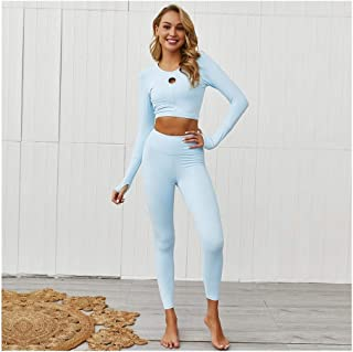 HZH Yoga Tight-fitting Long-sleeved Fitness Suit Yoga Clothing Set Ladies Sports Suit Women Z2G4YH (Color : Light Blue, Size : L)