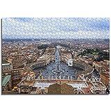 OKJK Ciudad del Vaticano Rompecabezas para Niños 1000 Piezas DIY uzzle Rompecabezas de Madera Juguete DIY Mural Moderno decoración del hogar 52cmx38cm
