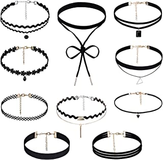 Rovtop 10 Pieces Choker Necklace for Women Girls, Black Classic Velvet Stretch Gothic Tattoo Lace ,Suitable for Parties, Halloween, Christmas, Different Festivals
