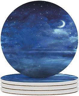 Posavasos de cerámica de estrella Sea Sparkle Crescent Moon Sky Posavasos de piedra de cerámica con base de corcho para ti...