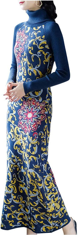 BINGQZ Cocktail Dresses National wind knit long skirt female autumn and winter dress Slim retro jacquard embroidery dress