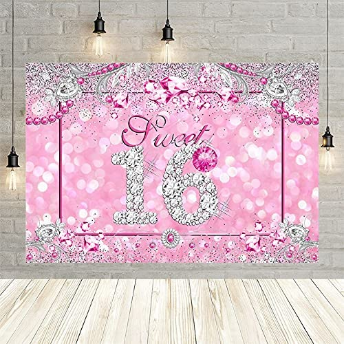 Photography Backdrop Sweet 16th Birthday Silver Over item handling Japan Maker New Party Diamond Pi