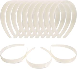 White Craft Plastic Headbands 1 Inch Plain No Teeth DIY Hair Bands Plain Headbands (40 Pieces)