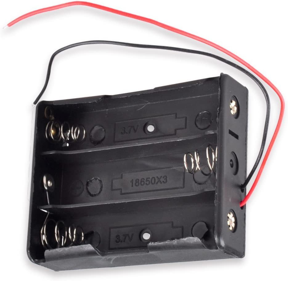 18650 Battery Holder, 3-Slot 3.7V 18650 Battery Storage Box Case with 6inch Bare Wire Leads [4-Pack]