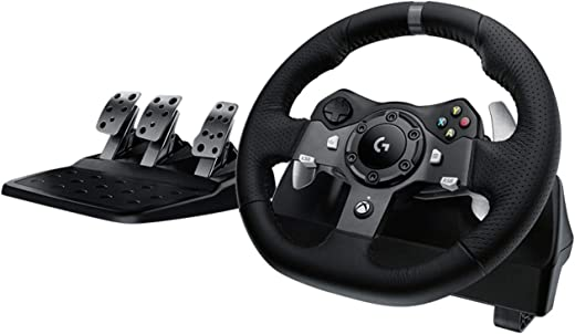 Logitech G920 Driving Force Racing Wheel and Floor Pedals, Real Force Feedback, Stainless Steel Paddle Shifters, Leather Steering Wheel Cover for Xbox Series X|S, Xbox One, PC, Mac - Black