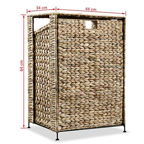 Festnight Wäschekorb Gewobene Gestaltung 44 x 34 x 64 cm Wasserhyazinthe Braun - 2