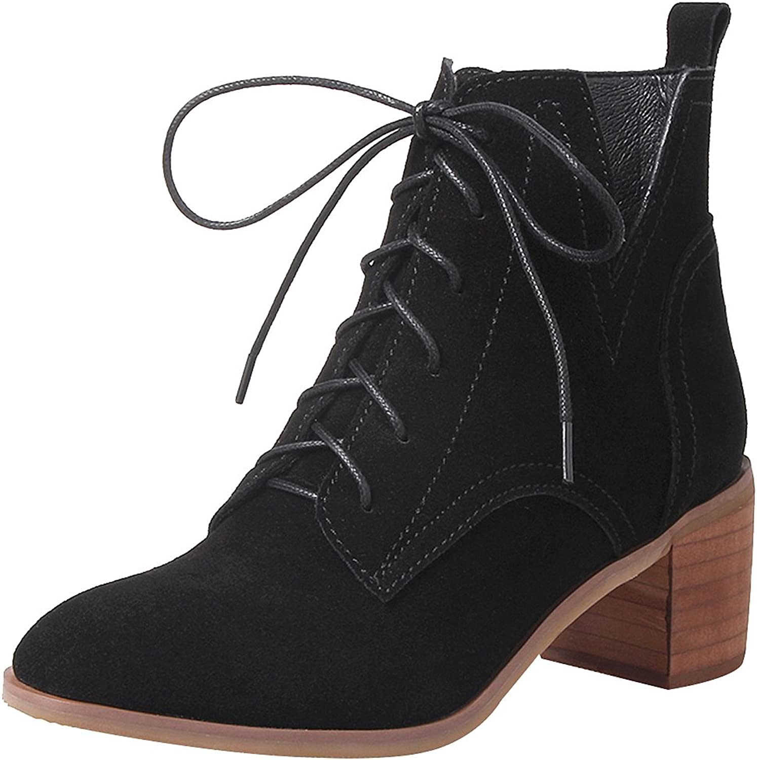 Jamron Women's Upscale Genuine Nubuck Leather Mid Block Heel Ankle Boots Elegant Lace Up Western Derby Boots