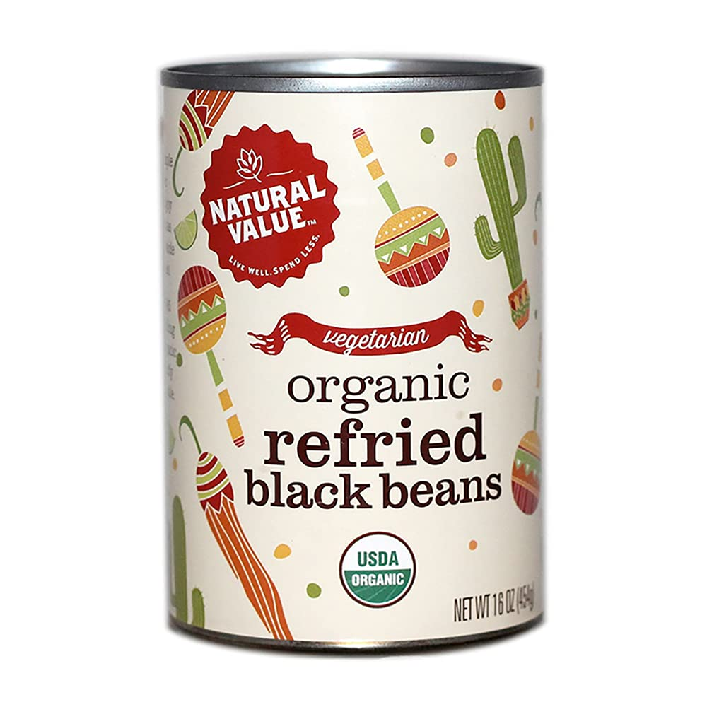 Natural Value Organic Refried Black Max 89% OFF 16-oz. Beans cans Colorado Springs Mall 6-pack