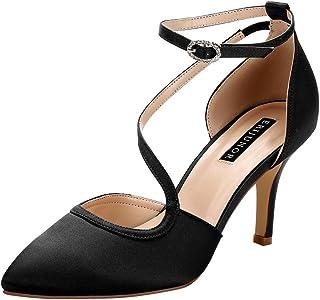 ERIJUNOR Women Comfortable Mid Heel Ankle Strappy Dress...