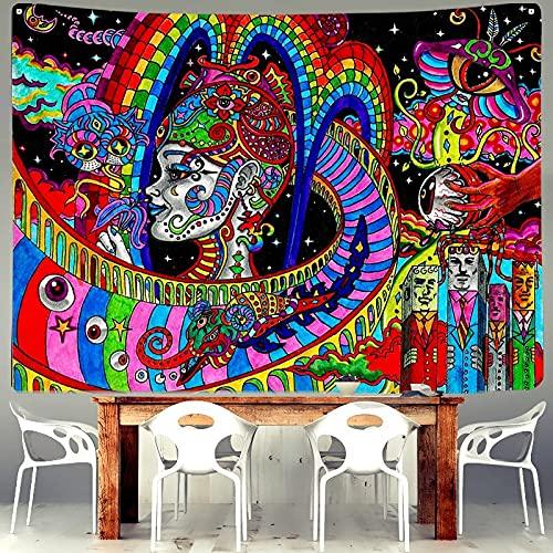 KHKJ Pintura al óleo psicodélica Tapiz Seta Bohemia Sol Flor Pulpo Colgante de Pared Sala de Estar Cama hogar al por Mayor A2 230x180cm