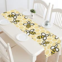 INTERESTPRINT Cartoon Bee Table Runner Home Decor 14 X 72 Inch, Yellow Table Cloth Runner for Wedding Party Banquet Decoration
