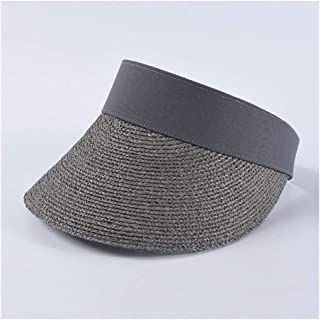 HongJie Hou Summer Empty top hat Female Fashion Hipsters Wild Lafite Straw hat Beach Holiday Travel hat (Color : Grey)