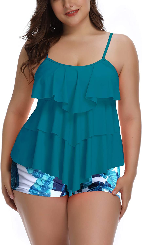 B2prity Women Tankini Set Plus Size Swimwear Flounce Printed Two Piece Swimsuits Tummy Control