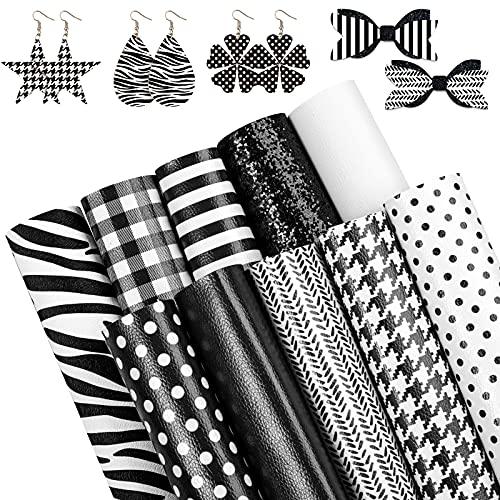Whaline 10 Stück Kunstleder-Blatt in Weiß und Schwarz, 20,3 x 30,5 cm, gemustert, gestreift, Glitzer, Kunstleder für DIY Ohrringe, Haarschleifen