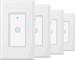 KKCOOL Smart Switch-Smart Light Switch, in-Wall WiFi Smart Switch That Compatible with Alexa and Google Home, No Hub Required, Neutral Wire Needed, Single-Pole 15A, ETL and FCC Listed,4 Pack