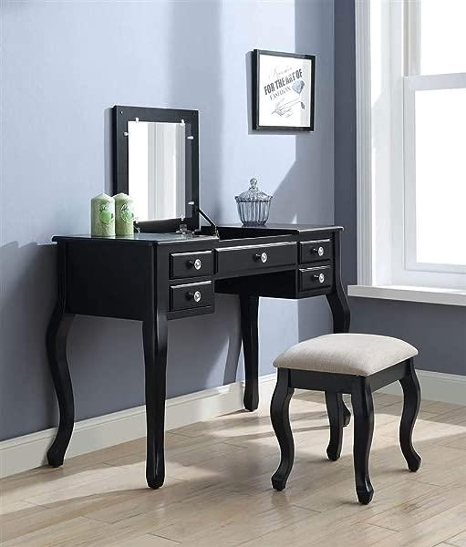 ACME Furniture 90370 Ordius Vanity Set Tan Velvet And Black