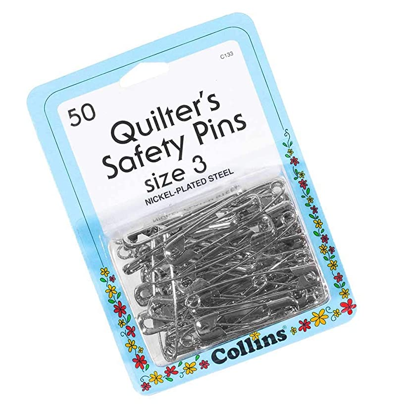 Craft County 50 Pack of Size 3 Nickel Plated Quilter's Safety Pins – Ideal for Quilting, Sewing, Tailoring, and Other Fabric Crafts