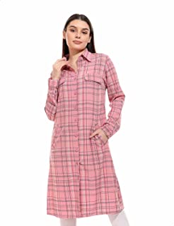 قميص كاروهات بأكمام طويلة وجيوب جانبية للنساء من اندورا