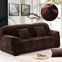 XuBa Non-Slip Thicken Plush Elastic All-Inclusive Sofa Protector for Autumn Winter Coffee Three People Seats 195-230