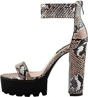 Women's Ankle Strap Snake Print Chunky Platform High Heels Sandals