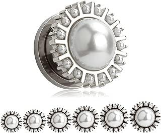 KUBOOZ(1 Pair Round Pearl Silver Ear Plugs Tunnels Gauges Stretcher Piercings