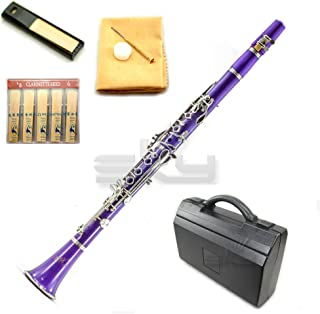 SKY Purple ABS Student Bb Clarinet with Case, Mouthpiece, 11 Reeds, Care kit and more