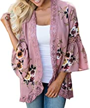 Women Lace Floral Open Cape Casual Suit Coat Loose Blouse Kimono Jacket Cardigan