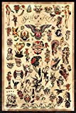 Sailor Jerry Tattoo Flash (Style C) Poster 24x36' (60.96 x 91.44 cm) - A Certified PosterOffice Print with Holographic Sequential Numbering for Authenticity