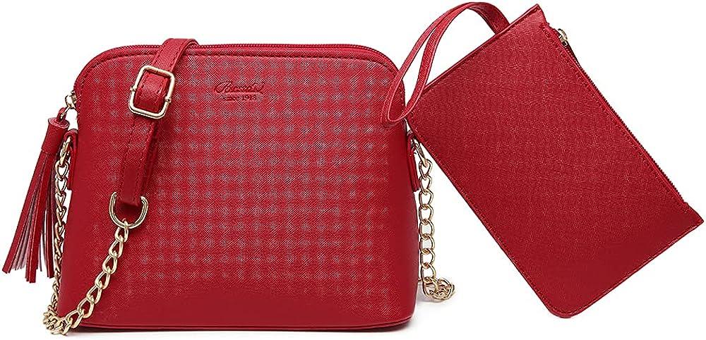 Bestou, borsa a tracolla per donna, piu` portafoglio, in pele sintetica, rossa