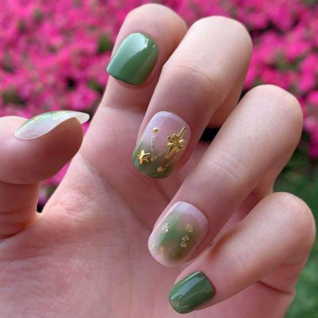 Chicque Green False Nails Gradient Selling and selling Cover ...