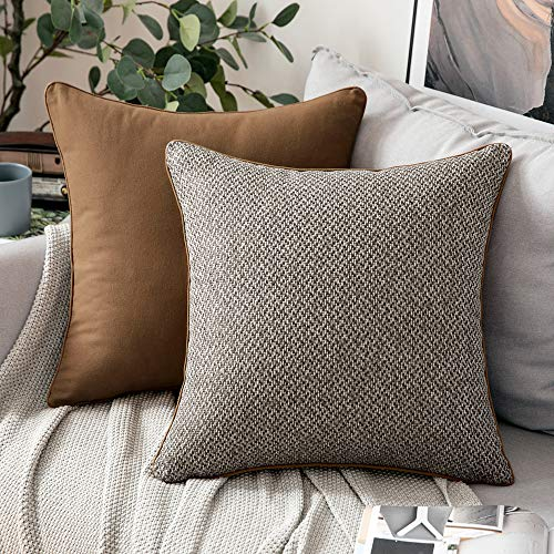 MIULEE Federe per Cuscini 2 Pezzi Copricuscini in Lino Resistente e Morbido Quadrato Decorativo Elegante per Soggiorno Salotto Cameretta 45X45 CM Grigio