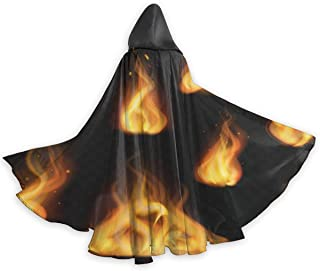 Halloween Hooded Adult Cloaks Costumes Cosplay Unisex Christmas Vampires-Realistic Flame Fireball Warm Fire Effect Black