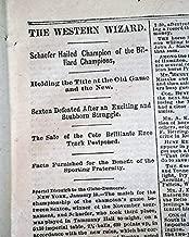 EARLY BILLIARDS Pool Champion Jacob Schaefer vs. William Sexton 1880 Newspaper