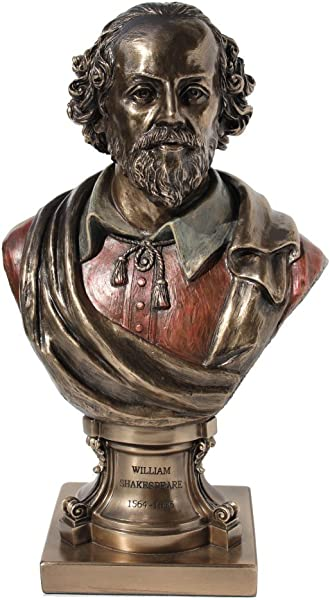 William Shakespeare Bust Statue Cold Cast Bronze 9 Inch Tall