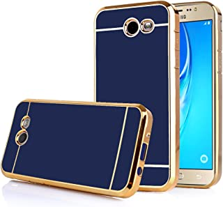 TabPow Galaxy J7 Prime 2017 Case, Electroplate Slim Glossy Finish, Drop Protection, Shiny Luxury Case for Samsung Galaxy J7 Perx/Galaxy J7 Sky Pro/Galaxy J7 V / J7 2017 -Royal Blue Gold