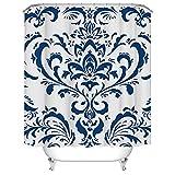 Duschvorhang-Set, Indigo-Muster, Blumenmuster, Unisex, Stoffvorhang für Badezimmer, Dekoration, mit Haken, 183 x 183 cm, Weiß