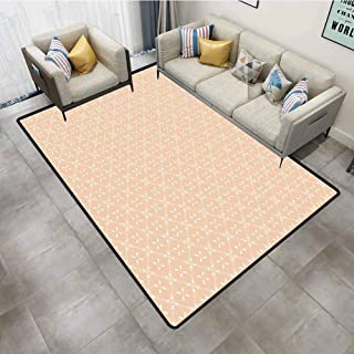 Rug pad Modern Diagonal Checked Pattern with Flower Motifs Spring Blossoms Simplistic Tile Design Salmon White Carpet pad 7'6x7'6