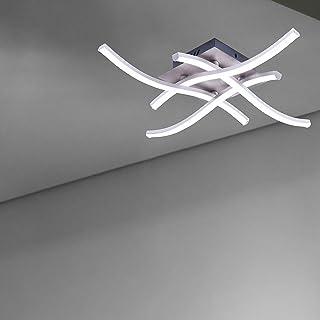 Konesky Lámpara De Techo Led, 28W Lámpara De Araña De Diseño Moderno Y Elegante Acabado En Níquel Satinado Con 4 Luces Ondulado Para Sala De Estar Dormitorio Comedor Cocina Pasillo