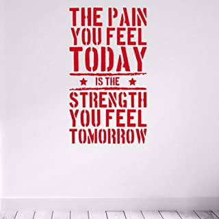 Pbldb 42X73Cm The Pain You Feel Today Quote Wall Sticker Vinyl Home Fitness Gym Strength Workout Red Wall Decals Art Deco Murals Removable